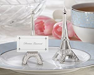 Evening in Paris Eiffel Tower Silver-Finish Place Card Holder set of 4 (Set of 6)