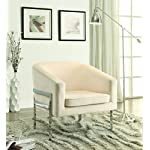 Coaster Contemporary Cream Velvet Upholstered Accent Chair with Chrome Base