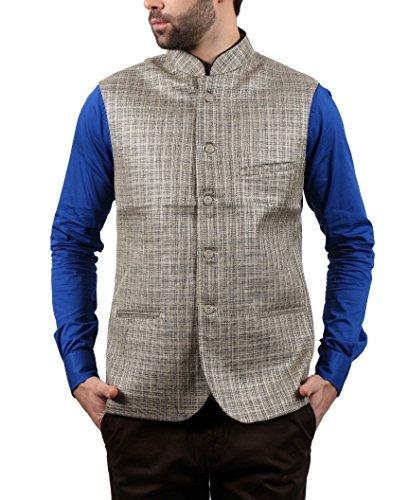 SOLEMIO Men Poly Cotton Ethnic Jackets (A15JK5501ECR_L_CR_Large)