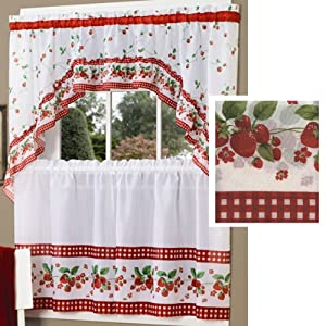 Strawberry Vine Kitchen Curtain Set By Achim