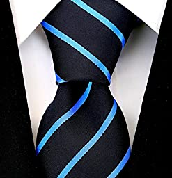 Scott Allan Mens Formal Pencil Stripe Necktie - Black and Medium Blue