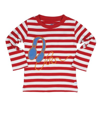 Ruggedbutts Red/White Striped Headphones Long Sleeve Tee - 18-24M