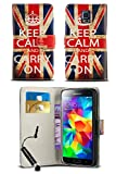 New Stylish Pattern Modern Print Design Wallet Flip Case Cover with Integrated Stand & Mini Stylus Pen for Sony Xperia M2 / S50H / D2305 / D2306 / LTE D2303 - Keep Calm Vintage Union Jack