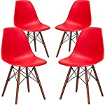 Poly and Bark Vortex Side Chair Walnut Legs, Red, Set of 4