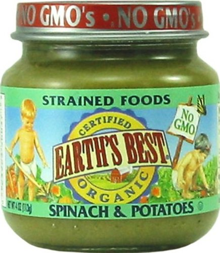 Earth's Best Organic Strained Spinach & Potatoes, 4 Ounce Jars (Pack of 12)