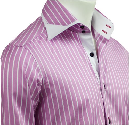 Italian Design Men Formal Office & Casual Shirts Pink Strips Slim Fit S-4XL