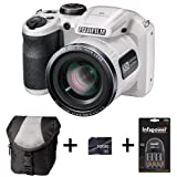 Fujifilm FinePix S4800 - White + Case + 16GB Memory + 4 AA Batteries and Charger (16 MP, 30x Optical Zoom) 3.0 inch LCD