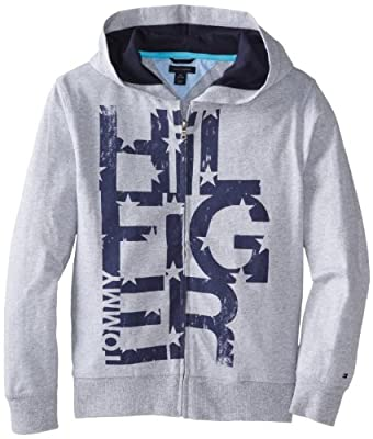 Tommy Hilfiger Big Boys' Long Sleeve Orian Hoody, TH Grey HT, Medium