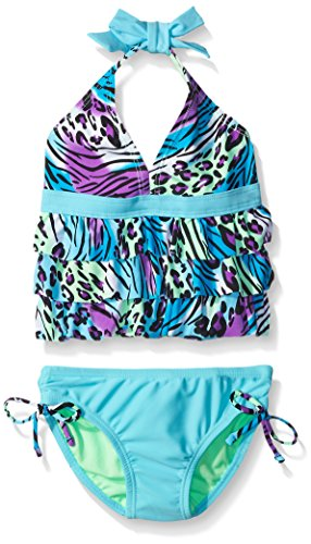 Breaking Waves Little Girls Leopard Wave Tankini Swimsuit, Multi, 5