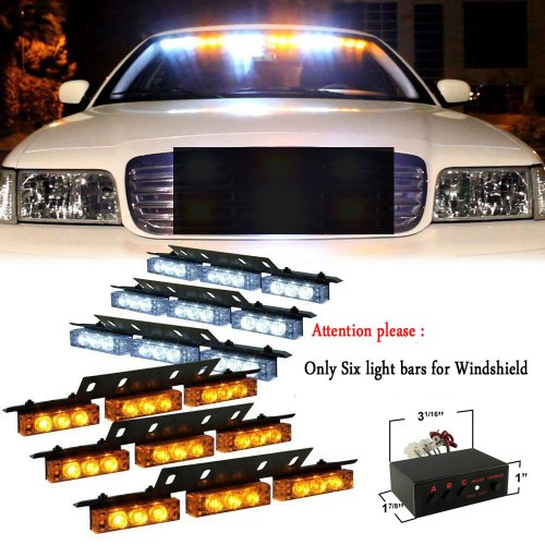 Nilight® White And Amber 54 X Ultra Bright Led Emergency Warning Use Flashing Strobe Lights Bar For Windshield High Quality