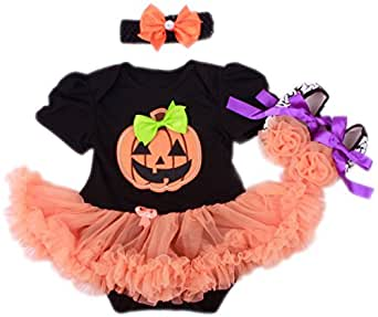 AOZKY® Baby Girls' 1st Halloween Pumpkin Costume Newborn Party Tutu Dress 3pcs