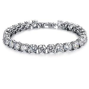 GirL Era Bling Bling Diamond-Cut Gem Round Bracelets Charm Tennis Bracelet(w)