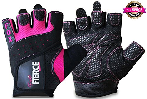 Womens Weighlifting Gloves plus FREE Padded Figure 8 Lifting Straps for Powerlifting-Gym-Crossfit-Weight Training-Biking-Cycling-Best for Comfort-Grip and Callus Protection-Washable-*FREE* Fox Fierce Fitness Workout for Women Ebook (Or Gloves Kids compare prices)