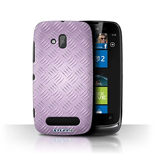 Stuff4 Hülle / Hülle für Nokia Lumia 610 / Rosa Muster / Geprägte Metall Mutser Kollektion