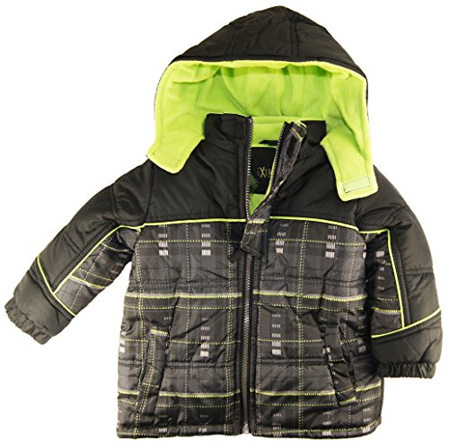 Ixtreme Little Boys Plaid Puffer Hooded Winter Jacket, Lime, 3T front-851820