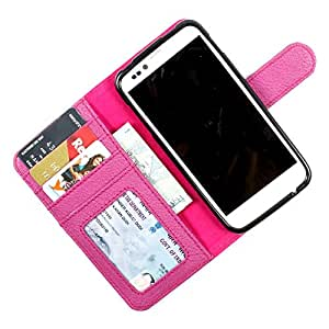 i-KitPit PU Leather Wallet Flip Case Cover For Micromax Canvas Juice A77 (Purple)