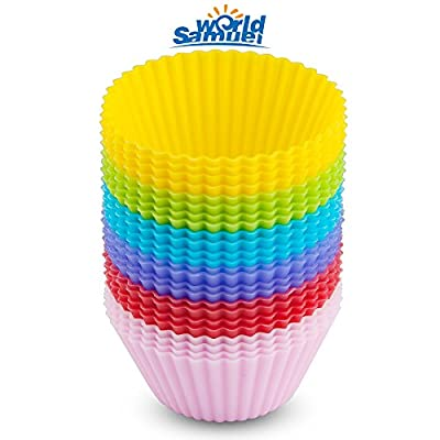 Samuelworld (24Pack) Reusable Non-stick Silicone Baking Cups/ Muffin Cupcake Liners Round Backing Mold For Gelatin, Snacks, Frozen Treats, Ice Cream or Chocolate Shell-lined Dessert 6 Color