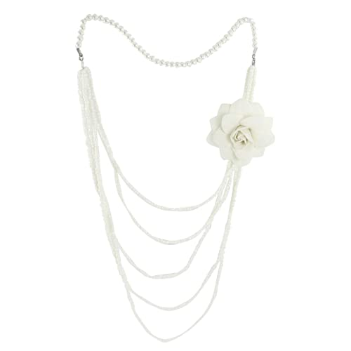 Rosallini Woman White Plastic Pearls Necklace w Flower Brooch for Sweater