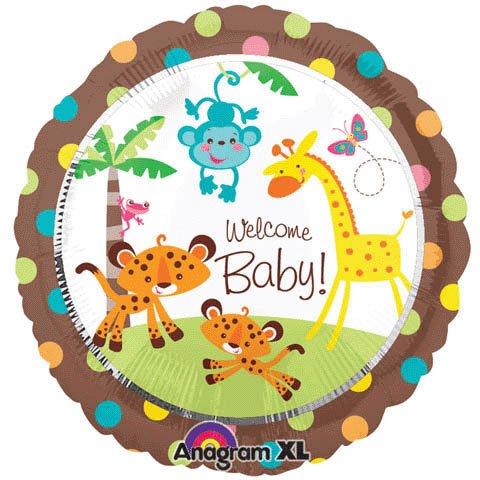 "Fisher Price 18"" Welcome Baby Shower Jungle Animal Party Balloon Giraffe Monkey"