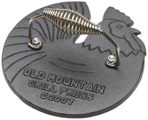 Old Mountain Pre Seasoned 10150 Rooster Shaped Bacon / Grill Press, 7 1/2 Inch Diameter
