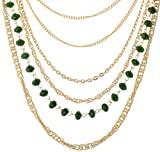 Gudsons Green Metal Multi-Strand Necklace for Women (GND-NECKLACE-GREEN-NS015)