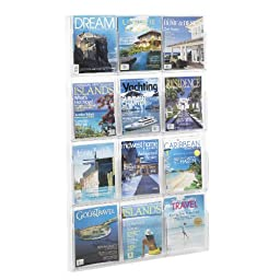 Safco Products 5602CL Reveal Literature Display, 12 Magazine, Clear
