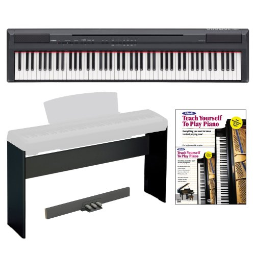 Yamaha P Series P105B 88-Key Digital Piano + Digital Piano Stand, 3 Pedal Unit & Alfred'S Teach Yourself To Play Piano