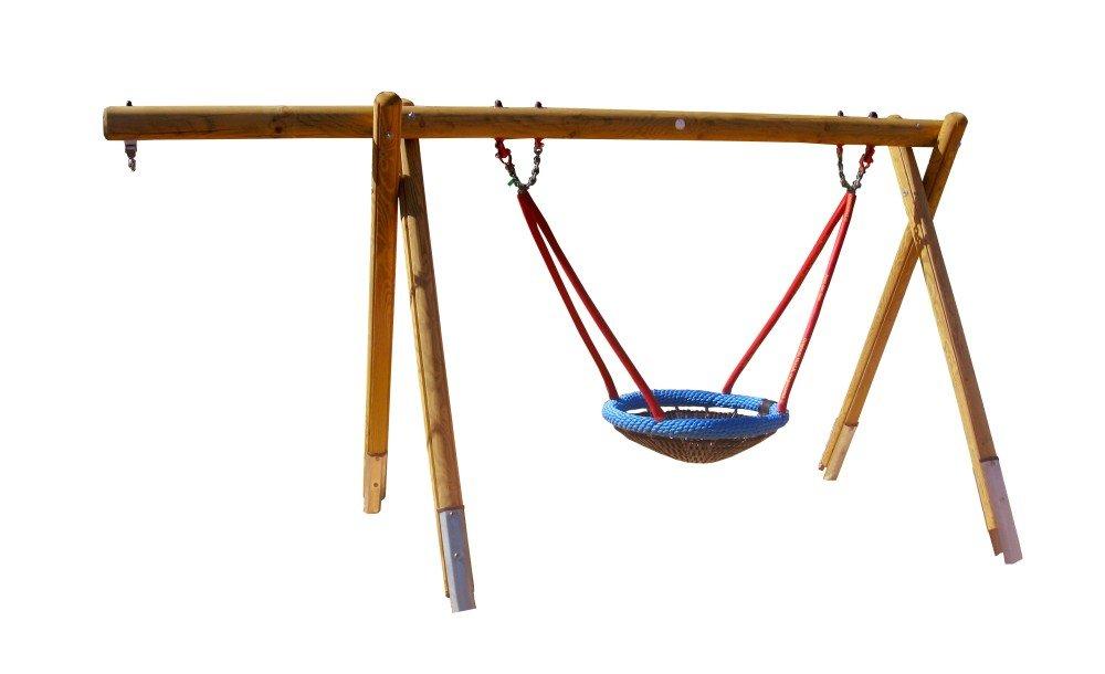 b+t H4650-K-220-SU Vogelnest-Schaukel-Gestell / aus Kiefer / Höhe: 220cm / mit Stahlankern, Überstand + Vogelnestkorb Ø 120cm bestellen
