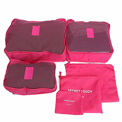6Pcs Waterproof Clothes Storage Bags Packing Cube Travel Luggage Organizer Pouch Colour Hot Pink