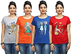 Flexicute Women's Printed Round Neck T-Shirt Combo Pack (Pack of 4)- Grey Milange, Orange, Red & Royal Blue Color. Sizes : S-32, M-34, L-36, XL-38