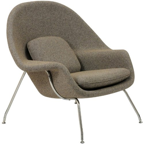 W Lounge Chair and Ottoman Set in Oatmeal