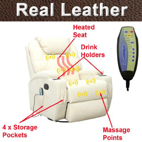 CINEMO 7 in 1 REAL LEATHER RECLINER CHAIR ROCKING MASSAGE SWIVEL HEATED GAMING NURSING CINEMA (Cream)