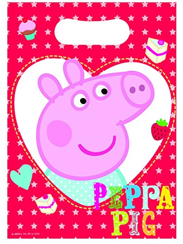 Peppa Pig Plastic Party Loot Bags x 8
