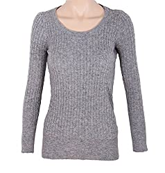 Trendy Scoop Neck Cable Knit Sweater - Small/Medium - Gray