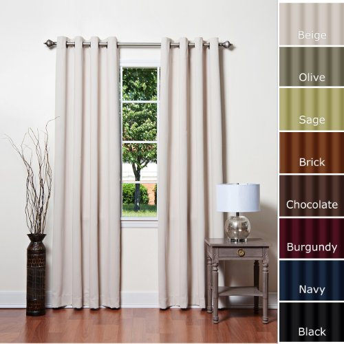 "Solid Grommet Top Thermal Insulated Blackout Curtain 95"" Length 1 Pair-BEIGE - GT"