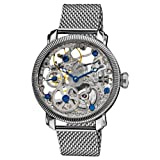 "Akribos XXIV Mens AK526SS ""Bravura"" Stainless Steel Mesh Mechanical Bracelet Watch"