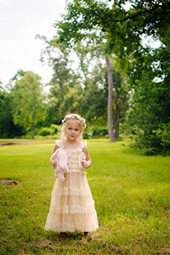 CVERRE lace flower rustic Burlap girl baby country wedding flower dress 2