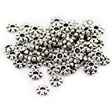 680 4mm silver plated antique style daisy spacer beads