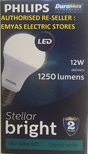 Philips Stellar Bright 12W 1250L E27 LED Bulb (Cool Day Light, Pack of 12)