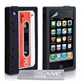 Yousave Accessories Silicone Gel Retro Cassette Tape Style Cover Case with Screen Protector Film for Apple iPhone 3/3G/3GS - Cool Black/Redby Yousave Accessories
