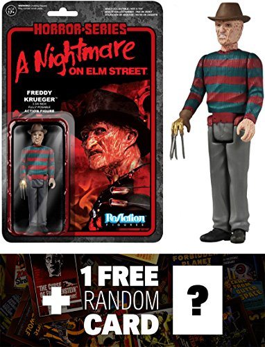 Freddy Krueger: Funko x Super 7 x A Nightmare on Elm Street ReAction Series + 1 FREE Classic Horror Movies Trading Card Bundle [41304]