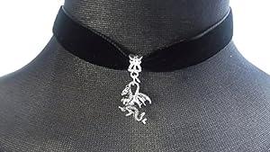 Classic Gothic Emo Plain Black 16mm Velvet Choker Necklace Chain with a 12mm Tibetan Silver Dragon Charm