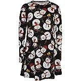 Kids Girls Christmas Dress Santa Snowman Penguin Print Xmas Dresses Leggings New Age 7 8 9 10 11 12 13 Years