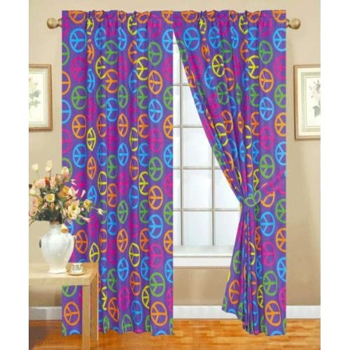 Amazon.com - 4 Piece Kids Curtains: 2 Purple Peace Sign Panels & 2 Tie ...
