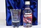 Engraved Shot Glass + Absolut Rasberri Vodka Miniature in Silk Gift Box For 18th/21st/30th/40th Birthday/Mum/Dad/Wedding