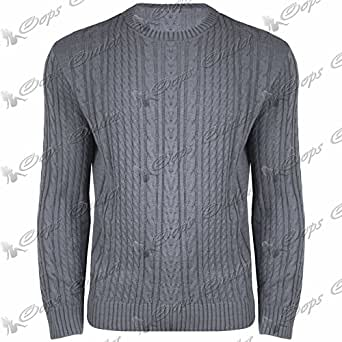Be Jealous New Mens Full Sleeved Crew Neck Cable Chunky Knitted Sweater Pullover Jumper Top X-Large Grey - Winter Warm Casual Knitted Knitwear