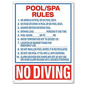 Poolmaster 40321 Pool Spa Rules Sign For