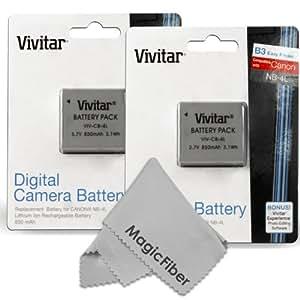 (2 Pack) Vivitar NB-4L Ultra High Capacity 850mAH Li-ion Batteries for CANON PowerShot Elph 100 300 310 330 HS SD780 SD1400 IS SD1100 IS SD960 IS SD940 IS SD 780 IS Vixia Mini (Canon NB-4L Replacement)