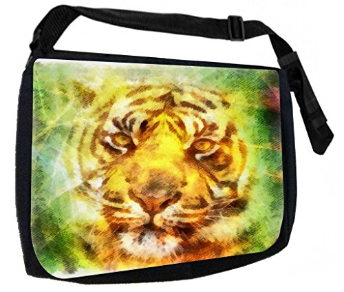 Watercolor Tiger Cub Art-TM Laptop Messenger Bag for Laptop/Notebook Computers + Small Wire/Accessory Case SET - Made in the U.S.A.
