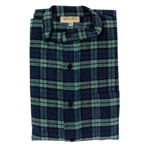 Magee Navy and Green Men's Brushed Cotton Nightshirt - Mens Magee Nightshirt